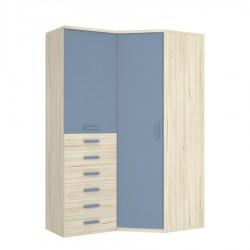 Armario rincón cartabón cajones dcha. con estantería 1 estante